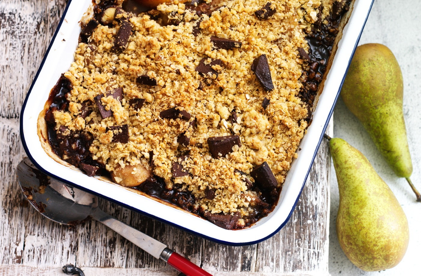 Spiced pear and chocolate crumble recipe