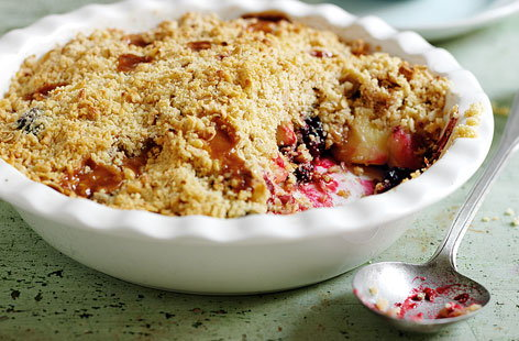 Pear, blackberry and fudge crumble HERO