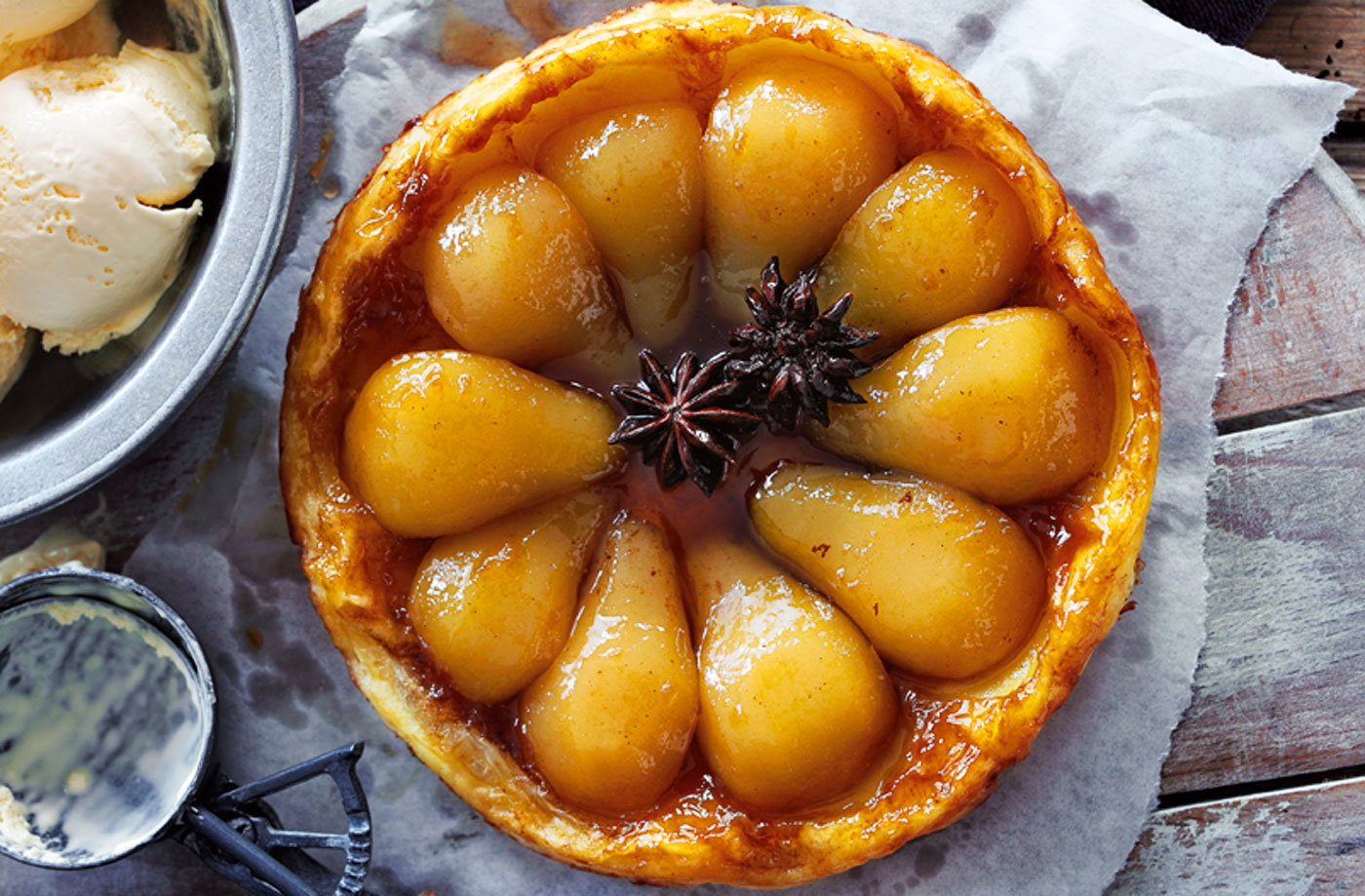 Pear, cinnamon and star anise tarte tatin recipe
