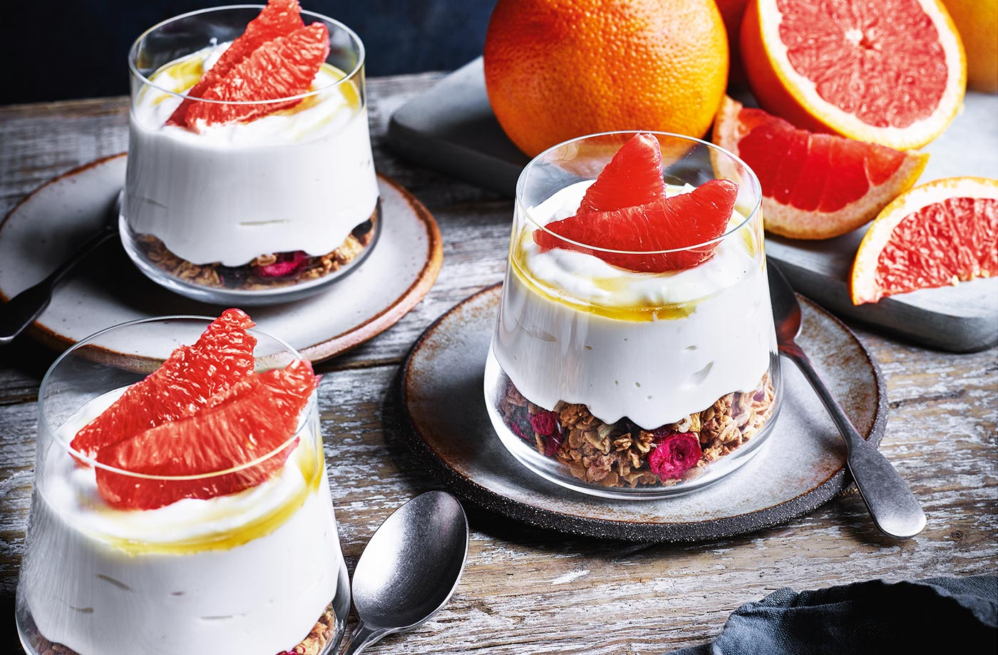 Pink grapefruit breakfast pots recipe