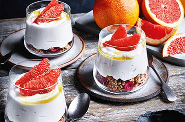 Pink grapefruit breakfast pots