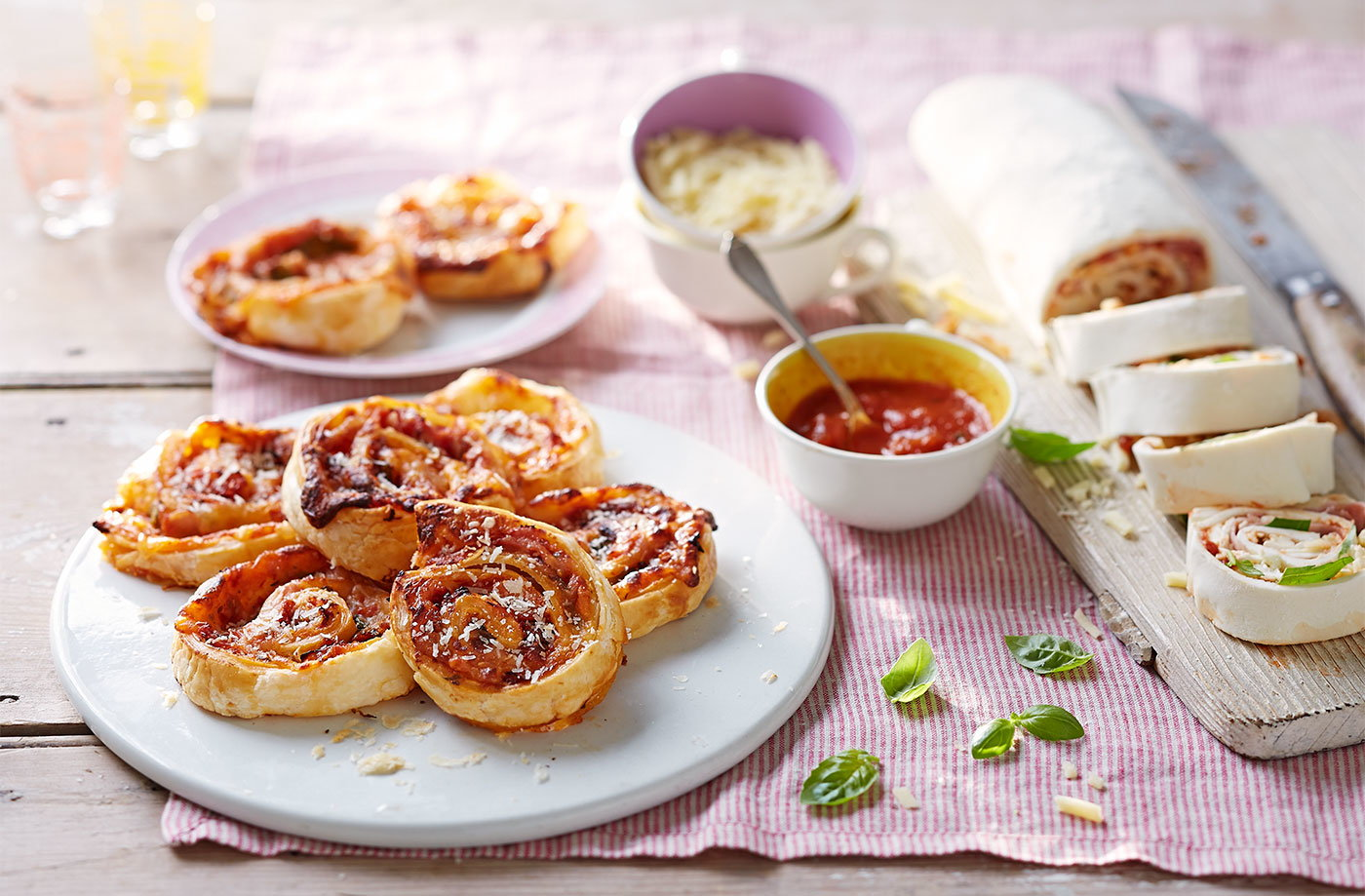 Three-cheese pinwheel bake recipe