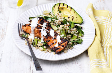 Piri piri salmon with griddled avocado