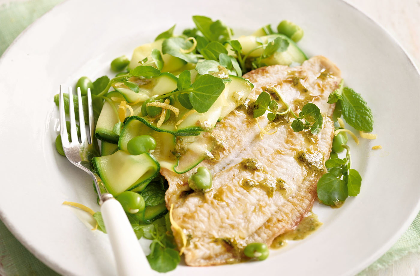 Pan-fried plaice with minty green salad recipe