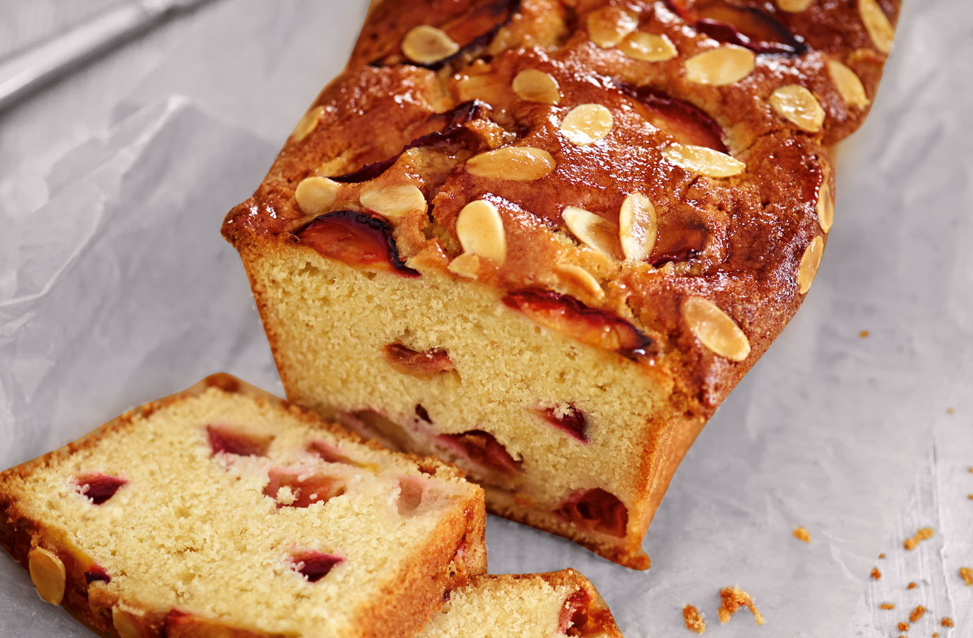 Plum and almond loaf