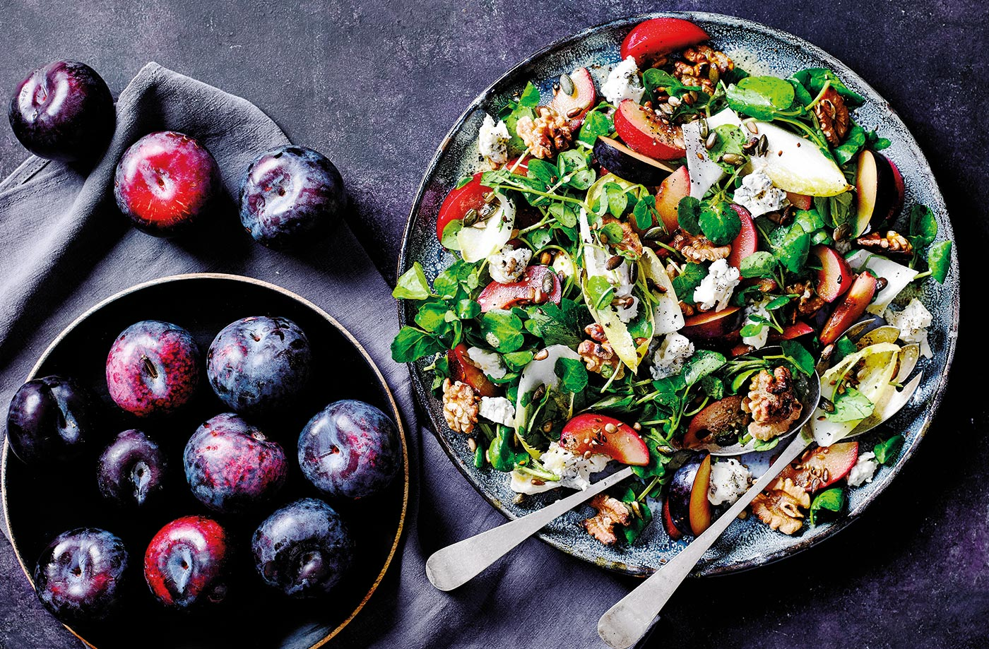 Plum and blue cheese salad recipe
