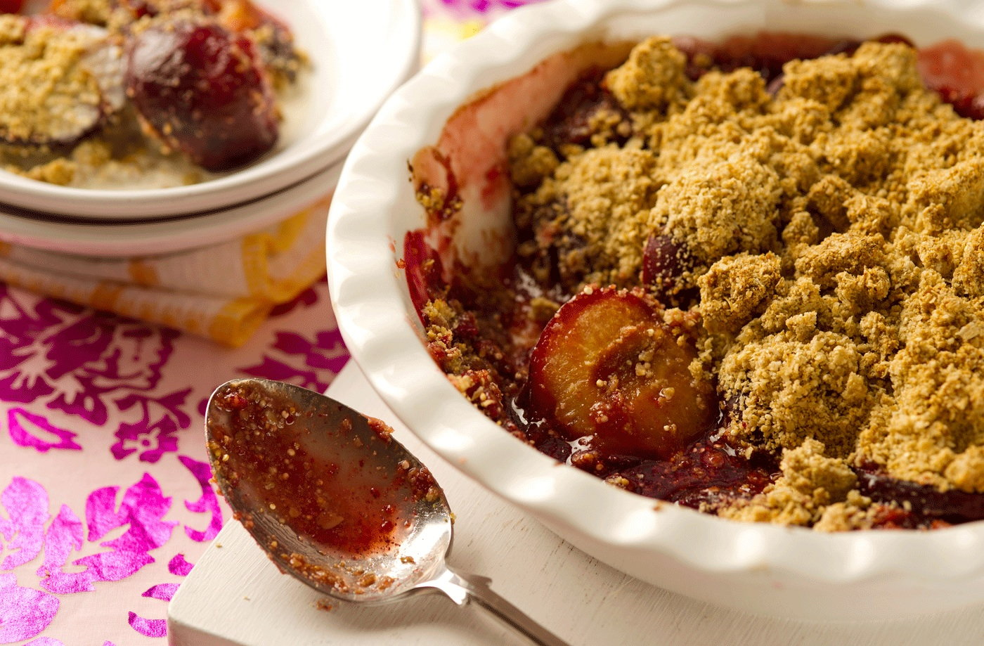 Gluten-free plum, quinoa and oat crumble recipe