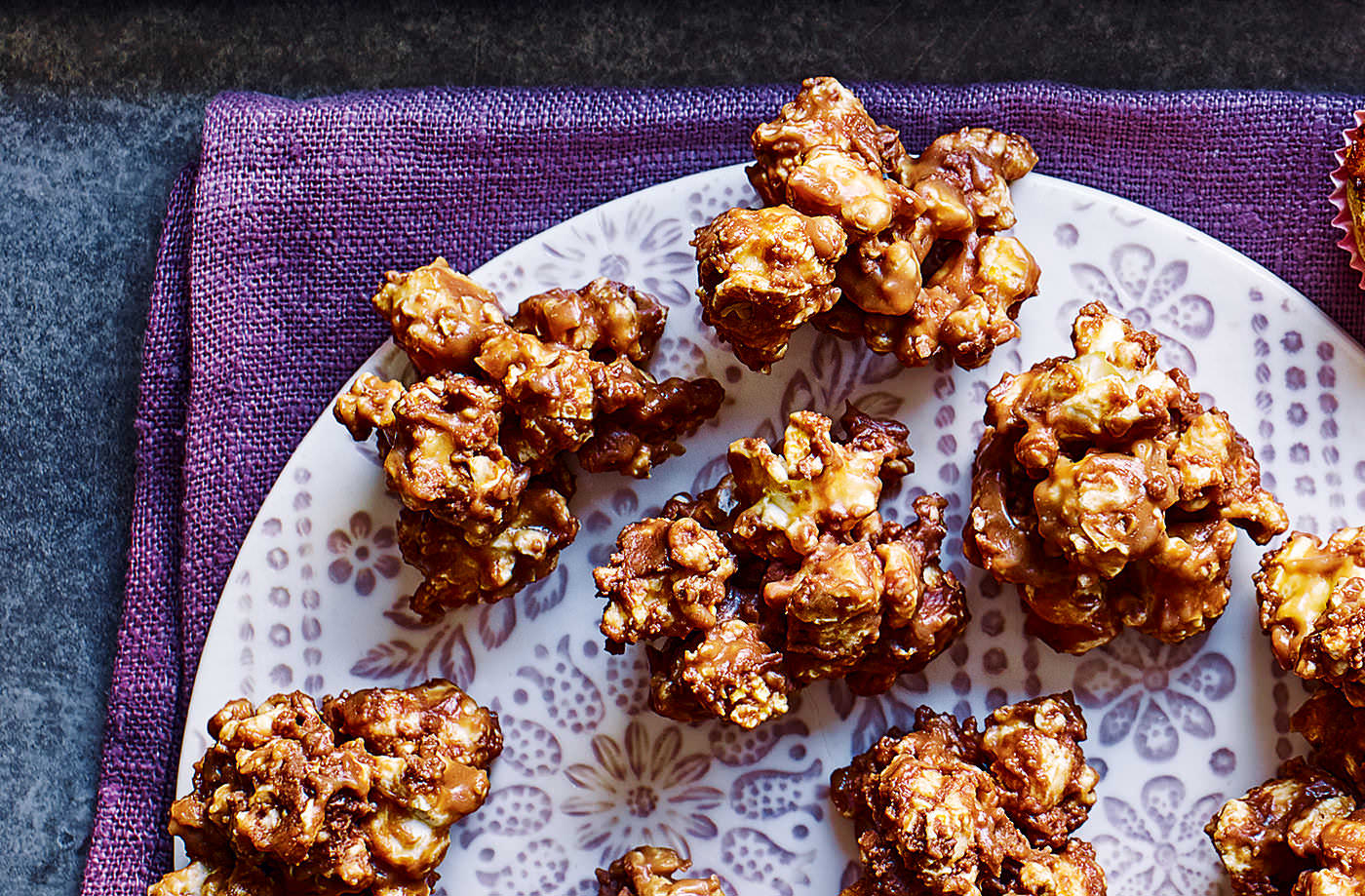 Salted caramel and chocolate popcorn bites