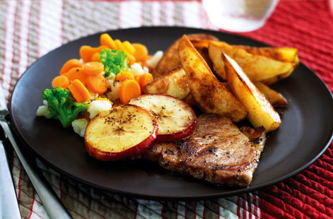 Pork chops with potato wedges