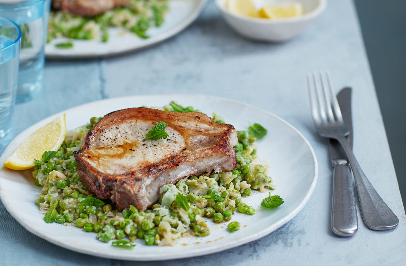 Pork chops with bean and pea mash recipe