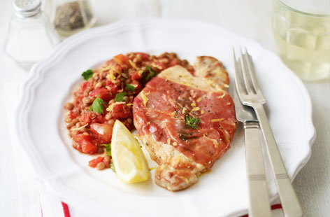 Pork saltimbocca with green lentils HERO