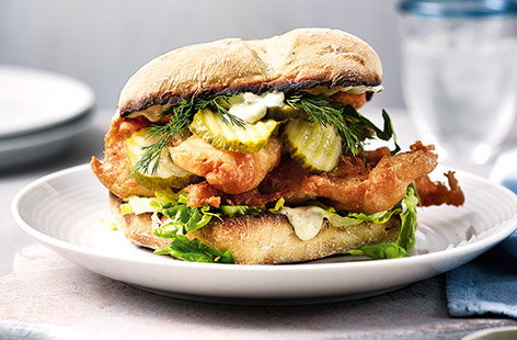 Posh fish-finger sandwiches