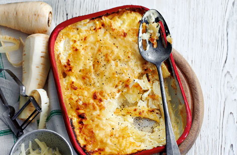 Serve up this vegetarian dish on its own or as an impressive side with a roast. With the nutty sweetness of parsnips and salty, creaminess from the Gruyère plus a kick of horseradish, it's the ultimate comfort food