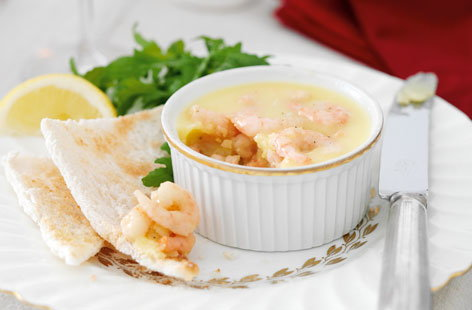 Potted prawns with Melba toast THUMB