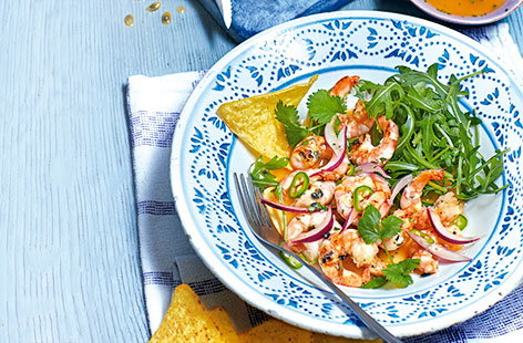 Grilled prawns with passion fruit dressing