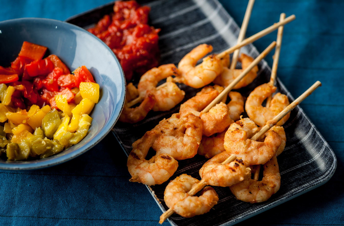 Alfred Prasad's prawn skewers with tomato chutney and roast peppers recipe