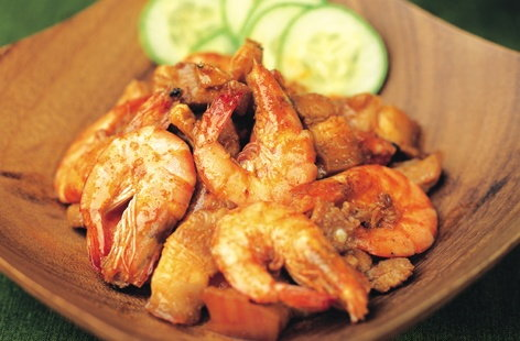 Prawns sauteed with pork belly HERO