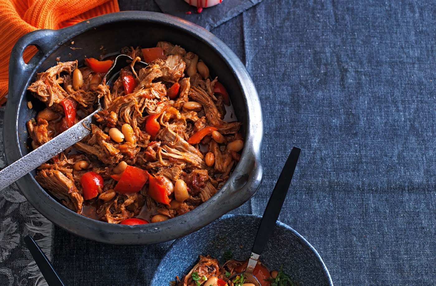Smoky pulled pork stew with beans, peppers and orange gremolata recipe