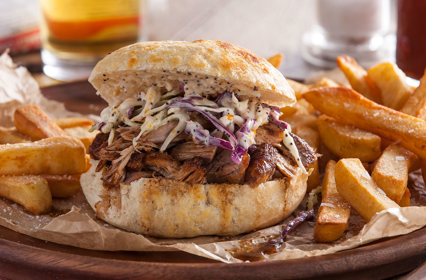 Pulled pork sandwich with slaw recipe