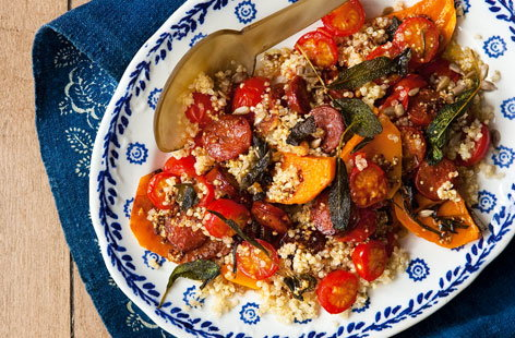Pumpkin chorizo and quinoa salad THUMB