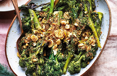 Purple sprouting broccoli and cashew nuts combine for this savoury side; a colourful creation that should add a bit of fun to the dinner table this Easter