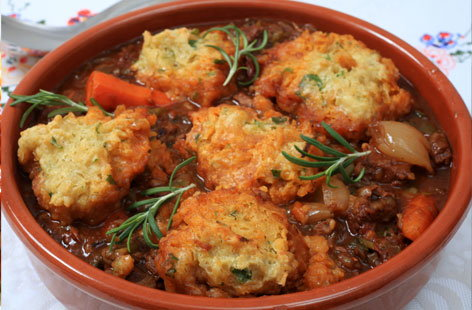 Quorn stew with herby dumplings hero
