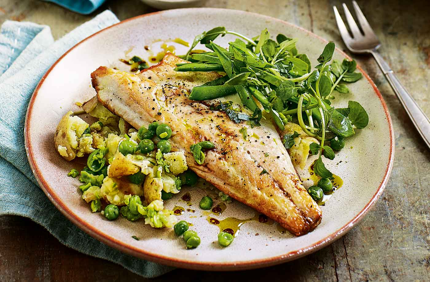 Pan Fried Sea Bass With Pea And Potato Salad Tesco Real Food