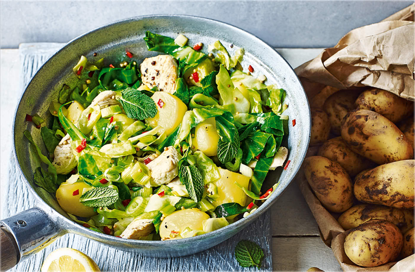 Spiced Jersey Royals and turkey stir-fry recipe