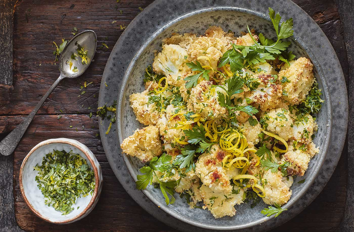 Almond-crusted cauliflower with gremolata recipe