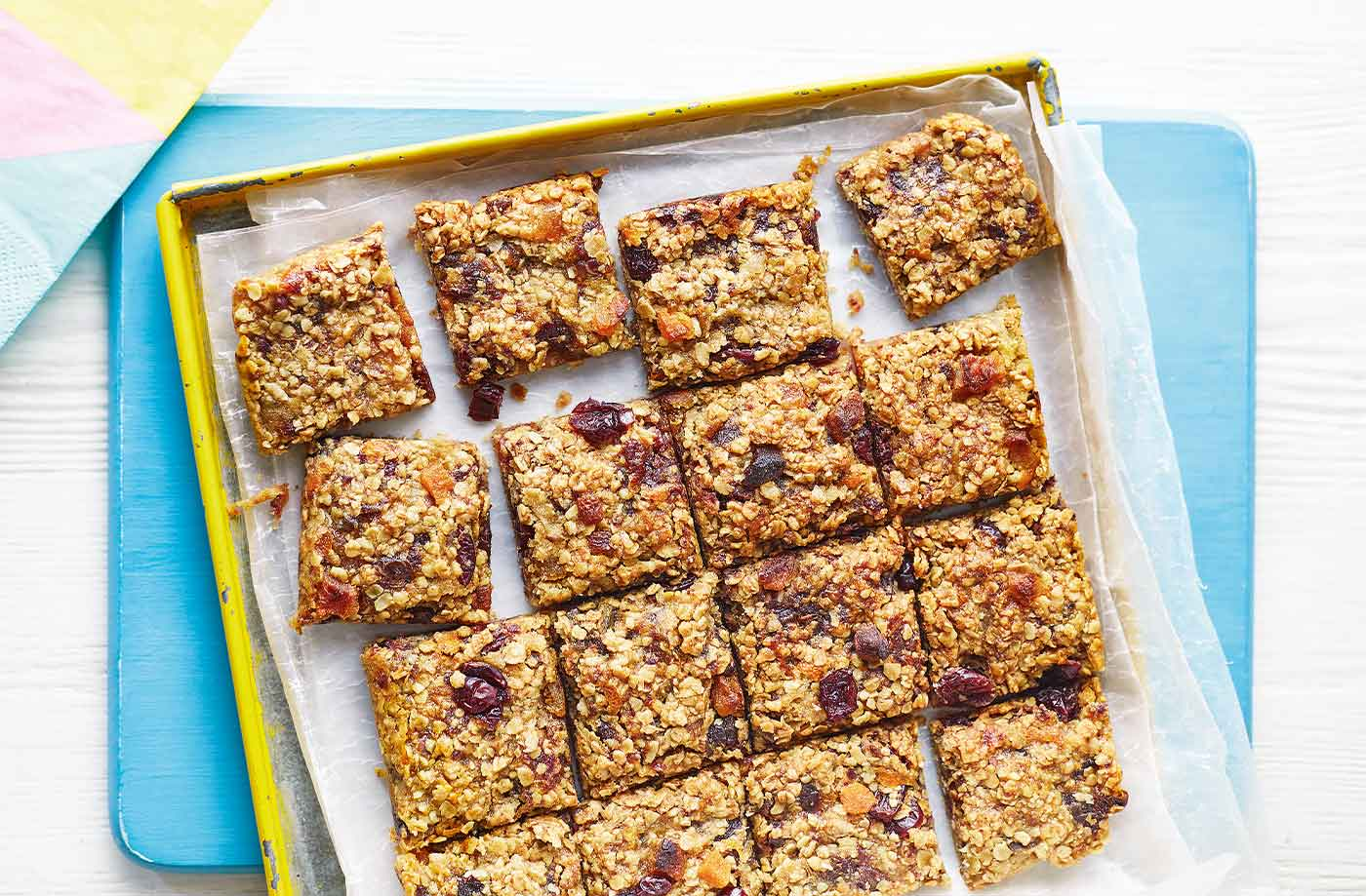 Apricot, pear and orange flapjacks recipe