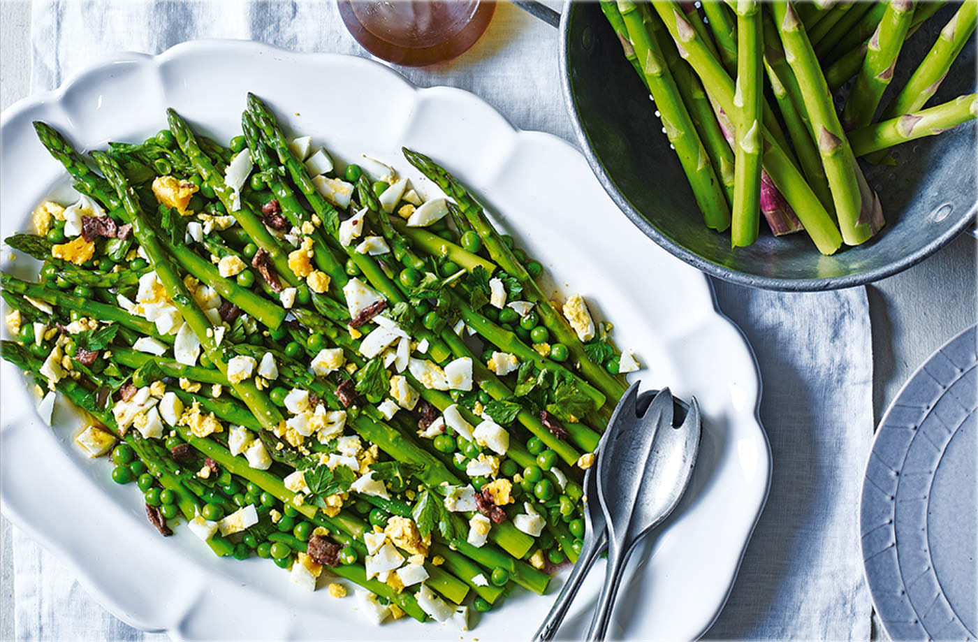 Asparagus and peas with anchovy dressing recipe
