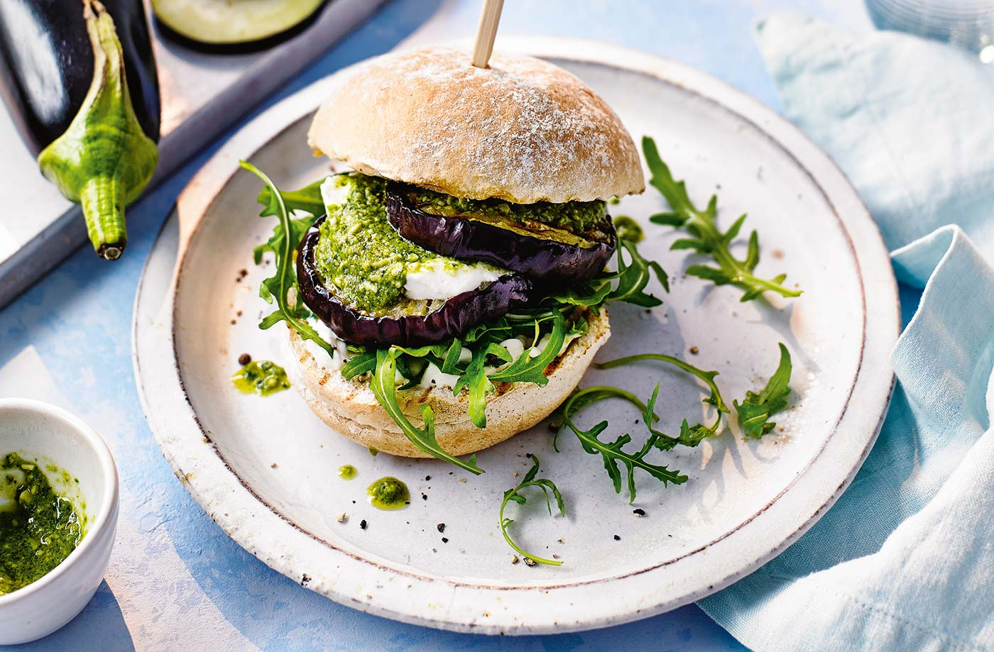Aubergine, pesto and goat's cheese burgers