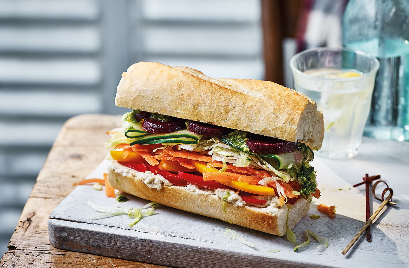 Rainbow veggie baguette recipe