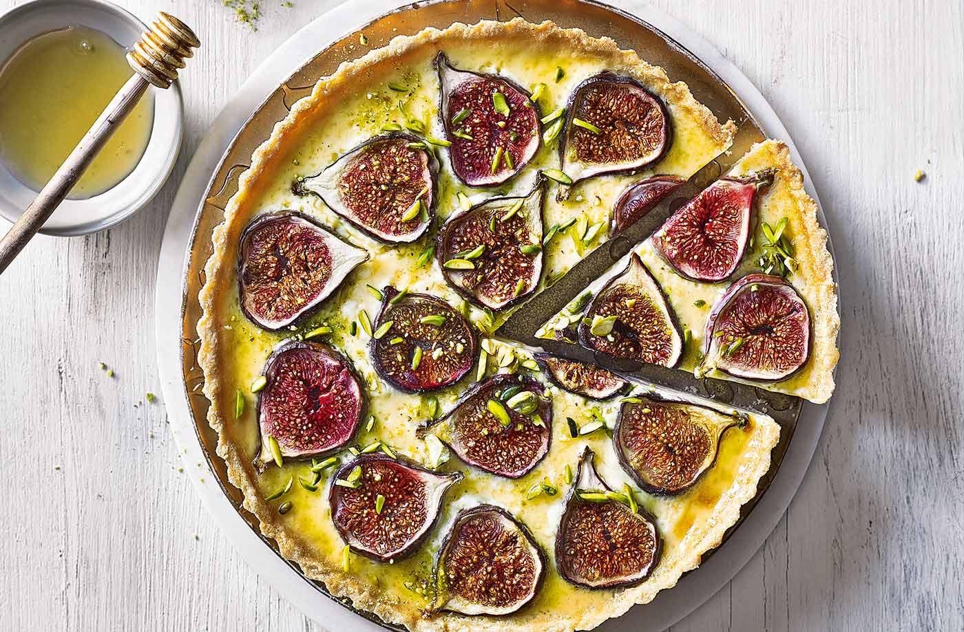 Baked fig and custard tart recipe