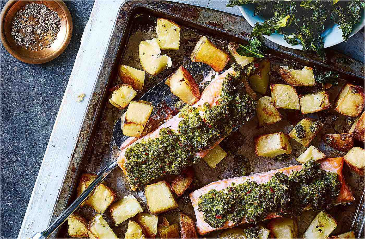Baked salmon with kale pesto recipe