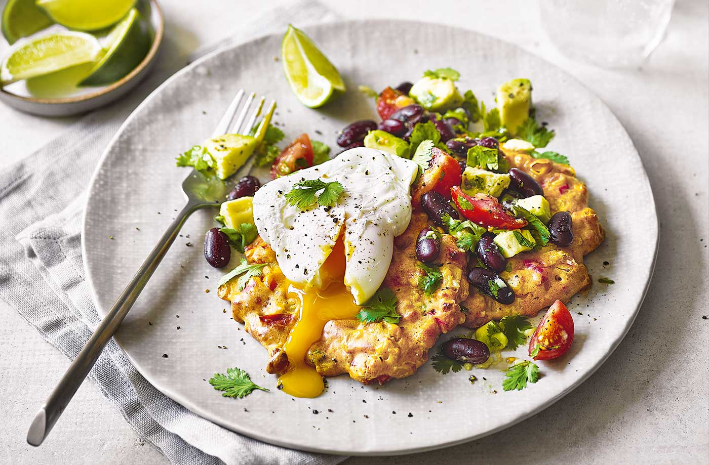 Baked sweetcorn fritters with Mexican-style salad recipe