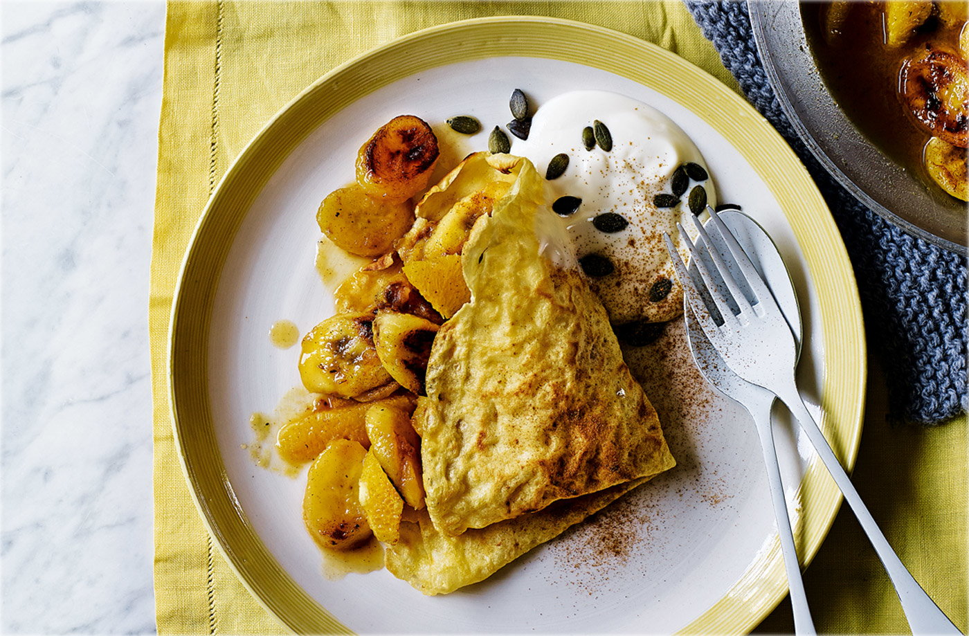 French crêpes with caramelised bananas and oranges recipe