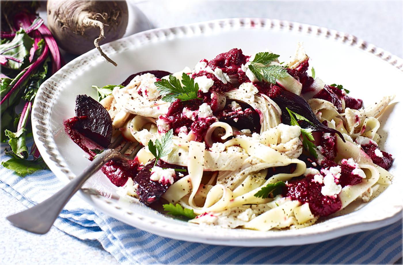 Chicken and beetroot 'pesto' pasta recipe