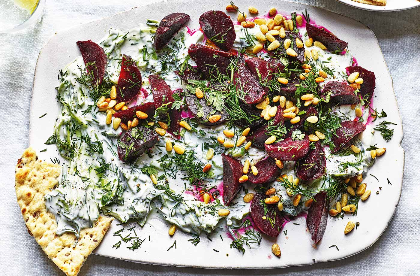 Beetroot with herby tzatziki recipe