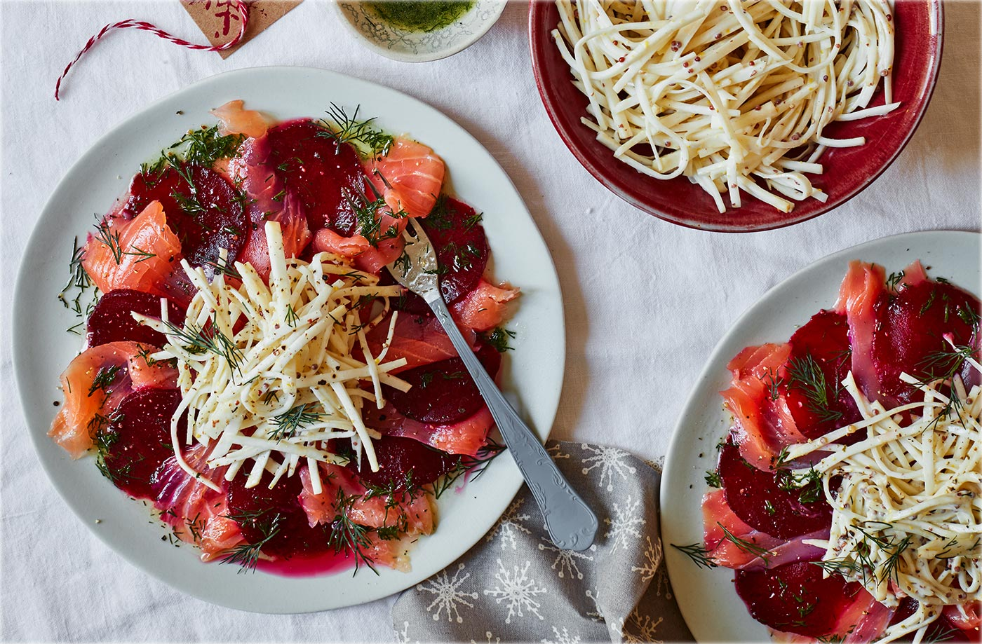 Salmon and beetroot carpaccio