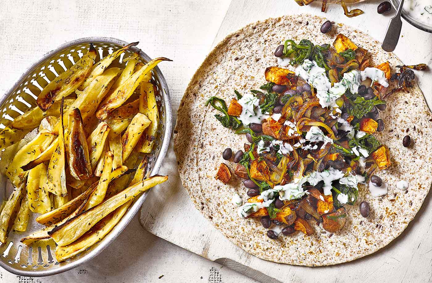 Black Bean And Sweet Potato Wraps With Parsnip Chips