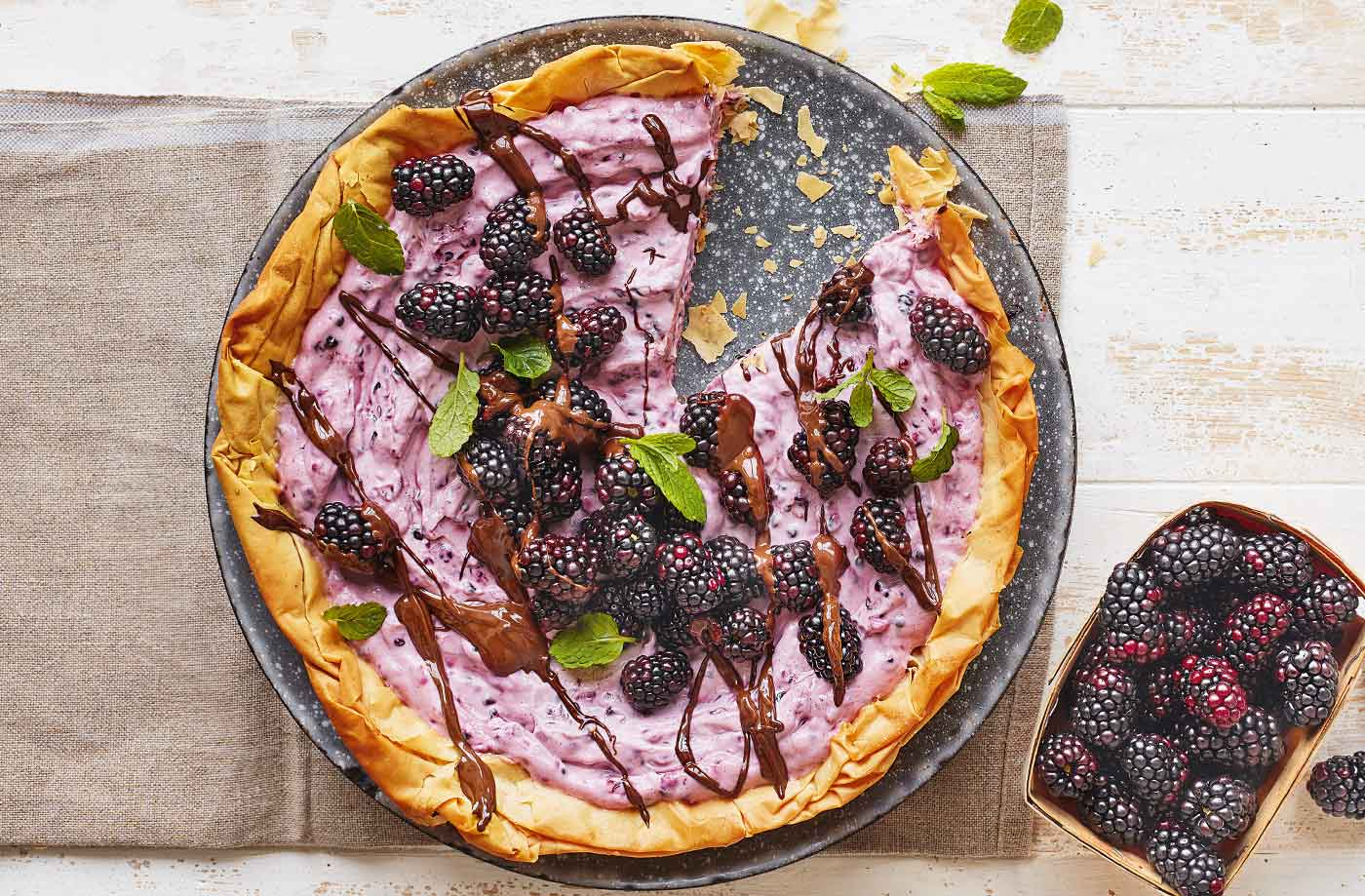 Blackberry filo tart