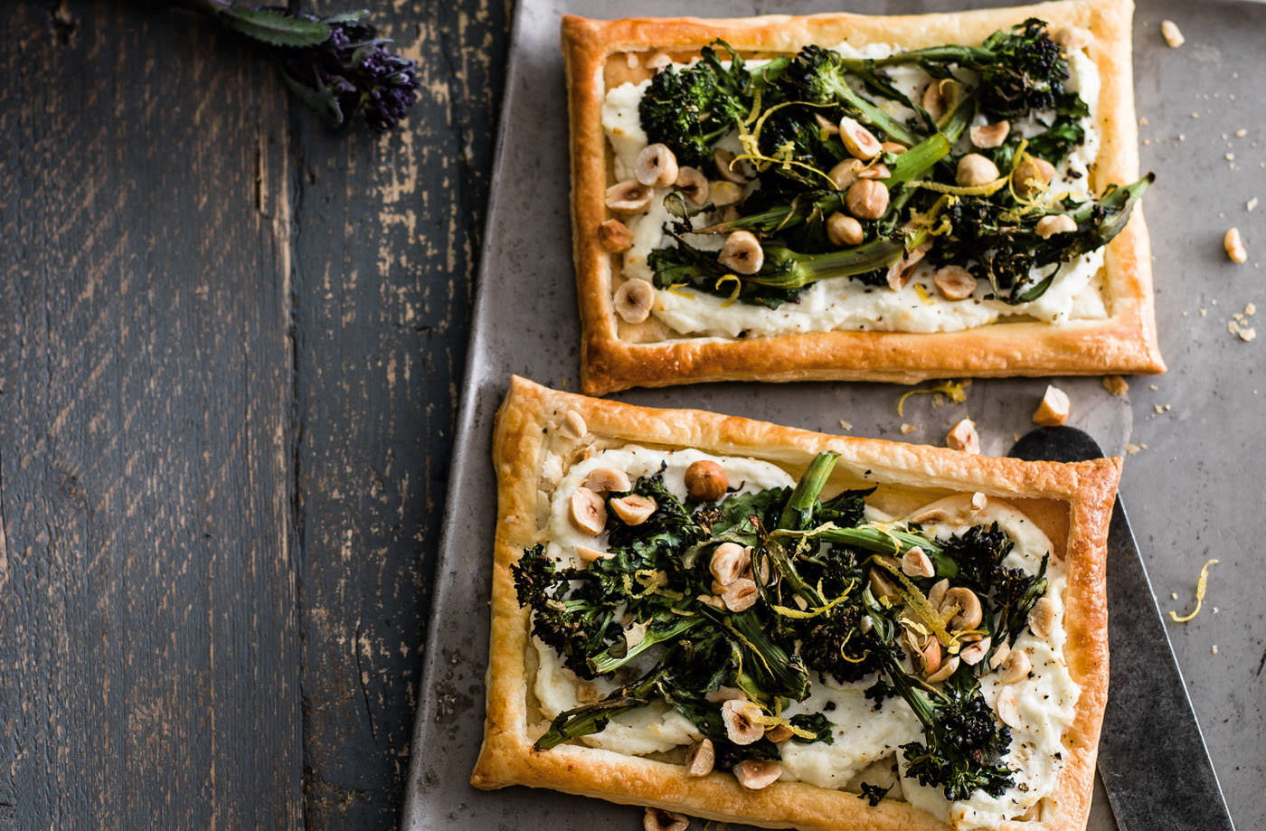 Purple sprouting broccoli, goat's cheese and hazelnut tarts recipe
