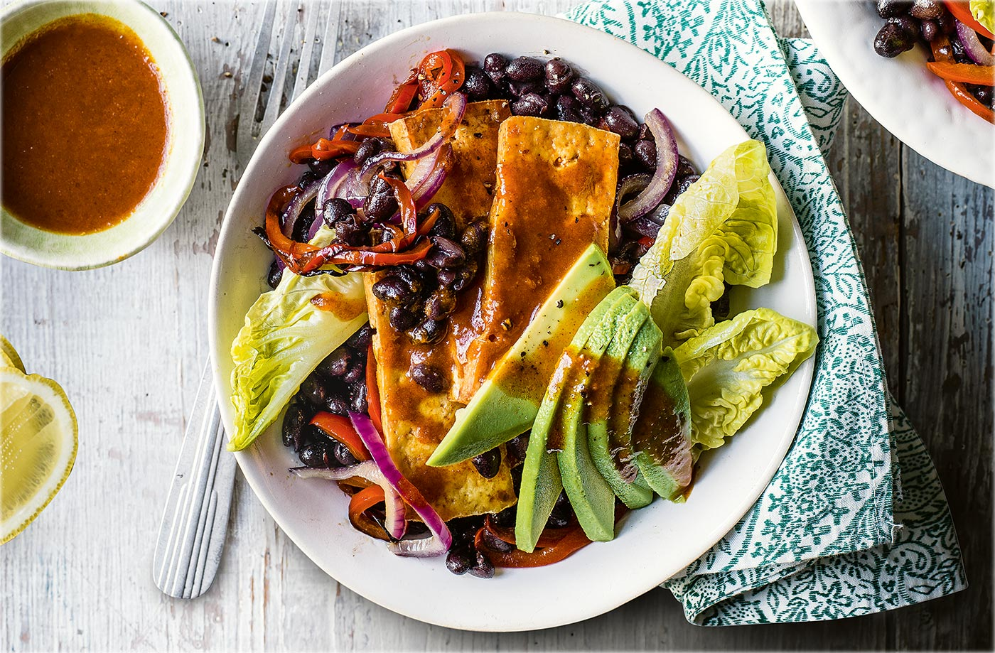Healthy vegetarian recipes vegetarian meals tesco real food buffalo tofu and black bean fajita bowls forumfinder Gallery