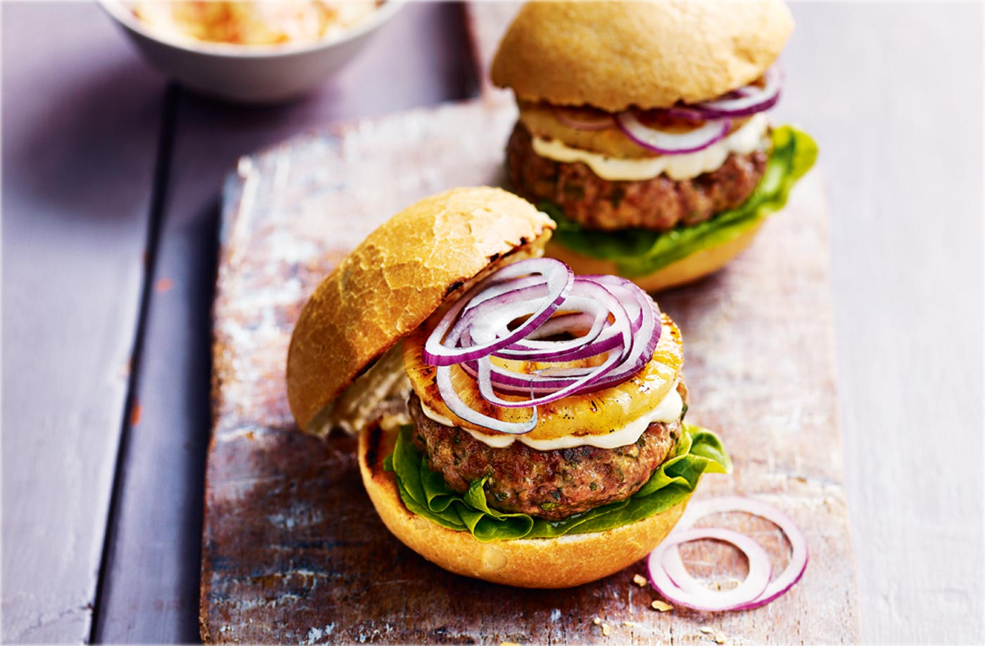 Pork and pineapple burgers recipe