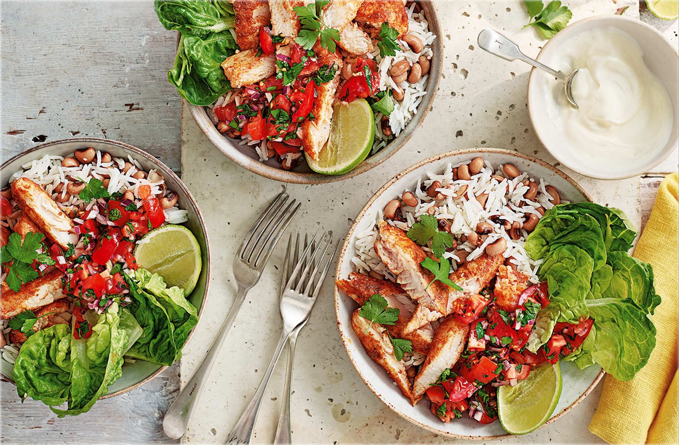 Fish burrito bowls recipe fish recipes tesco real food for Fish burrito recipe