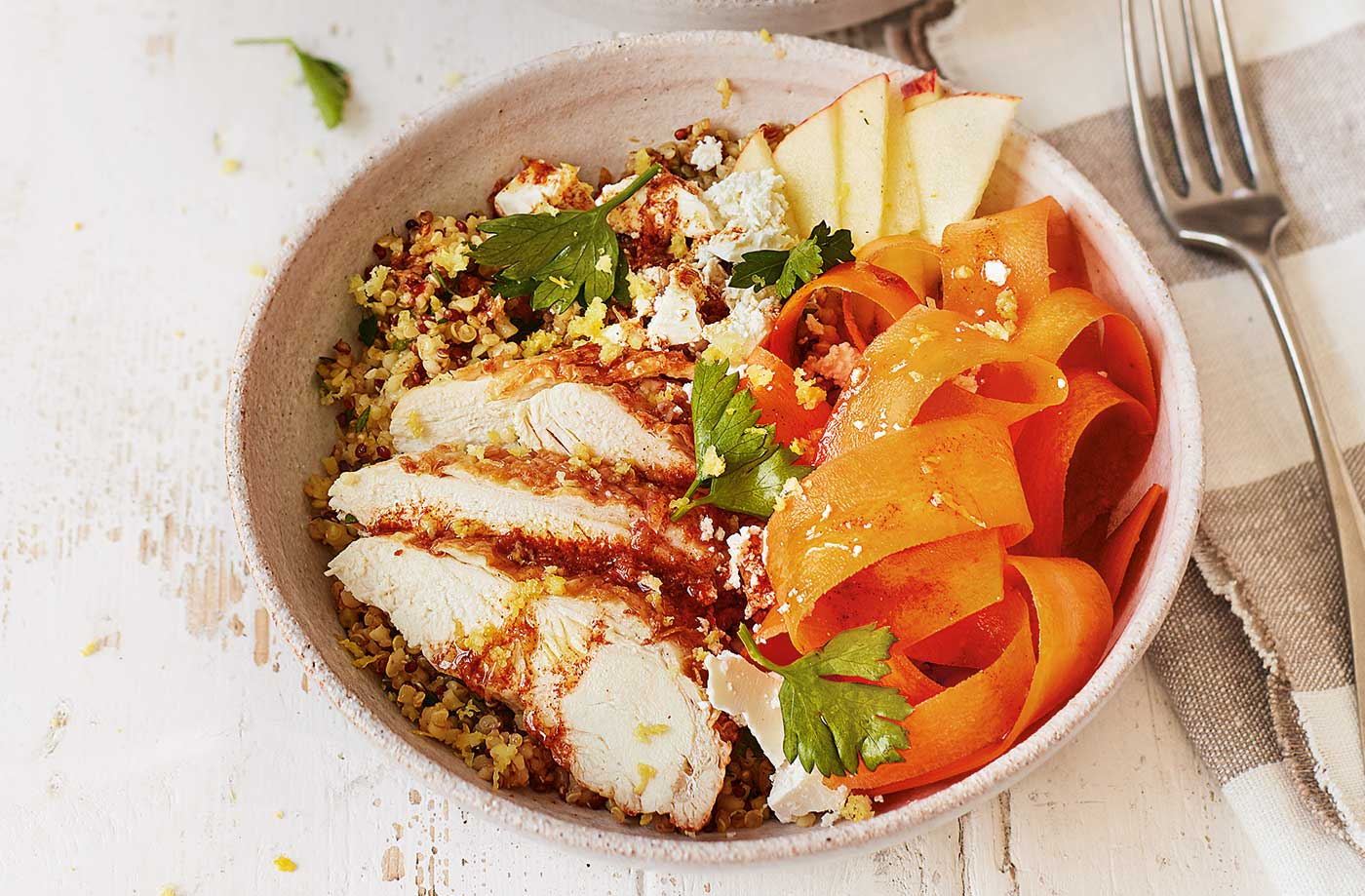 Carrot, apple and chicken grain bowls recipe