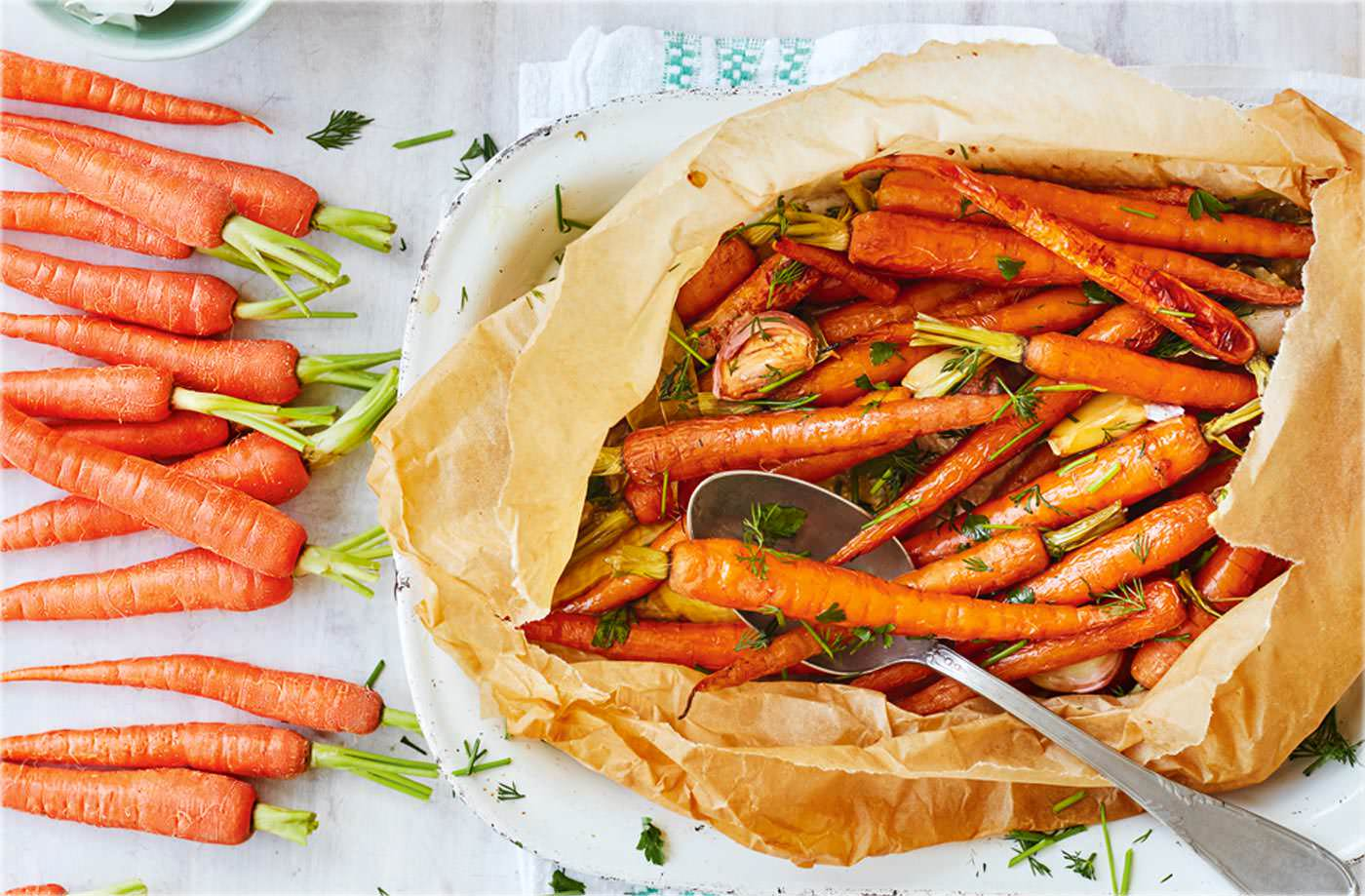 Baked herby carrots recipe