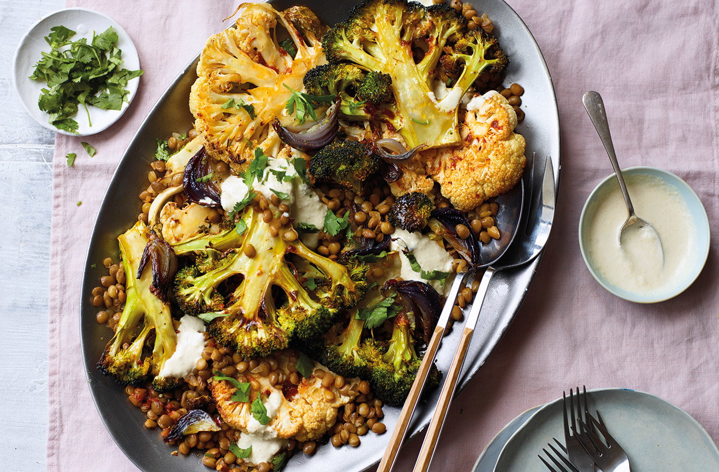 Roasted broccoli and cauliflower with harissa lentils recipe