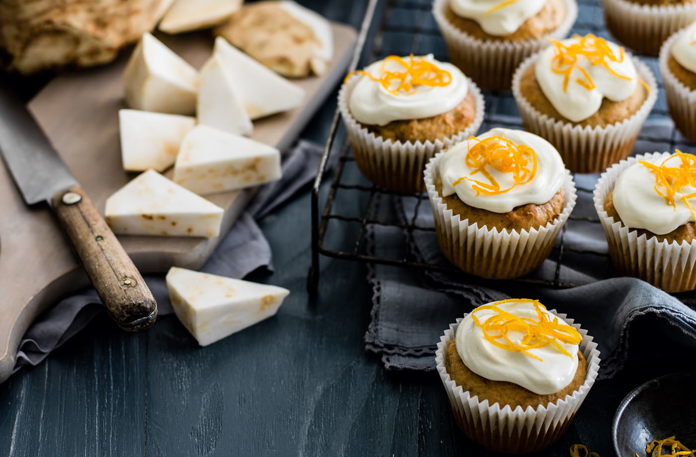 Celeriac and walnut muffins with cream cheese frosting recipe